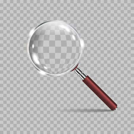 Magnifying glass realistic isolated on checkered background. Vector graphics in realistic style.