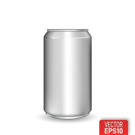 Realistic aluminum can on white background.