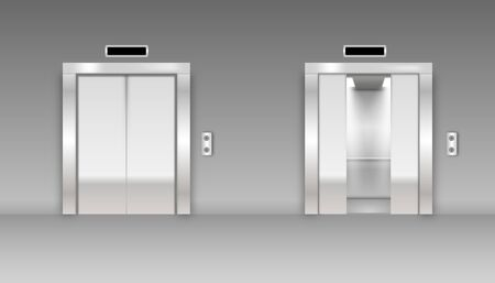 Modern passenger or cargo elevators, lifts with closed, opened and half closed. Illustration of lift door and elevator for office or hotel Ilustração