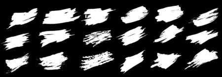 Brush strokes bundle. Dirty distress texture banners. Ink splatters. Grungy painted lines