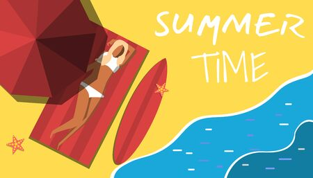Summer Holiday and Summer Camp poster. Summer scene top view beach background with umbrellas, surfboard,
