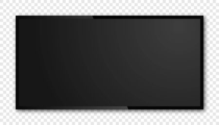 Realistic black television screen isolated. 3d blank led monitor display vector mockup.
