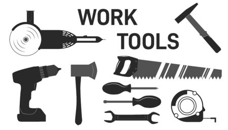 Set of monochrome vector carpentry, woodworkers, sawmill and lumberjack hand tools.  Building tools repair, construction buildings, drill, hammer, screwdriver, saw, grinder, screwdriver, ax, tape measure