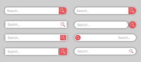 Search bar templates design set. www search bar icons.