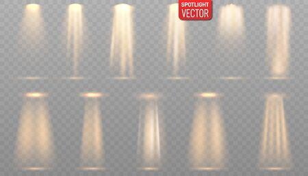 Scene illumination collection, transparent effects. Vector spotlights. Light sources, concert lighting, stage spotlights Ilustração