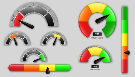 Business credit score vector speedometers. Customer satisfaction indicators with poor and good levels. Concept graphic element of tachometer, speedometer, indicators, score.
