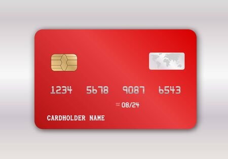 Detailed glossy red credit card isolated. Vector illustration EPS10.