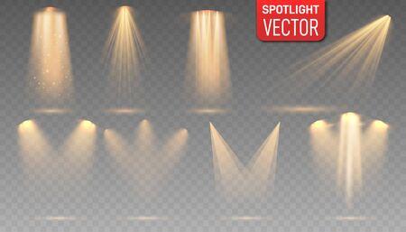 Vector gold spotlight set. Bright light beam. Scene illumination big collection, transparent effects.