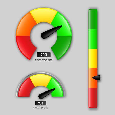 Credit score meter. Credits rating measure, poor or good scores vector illustration set.