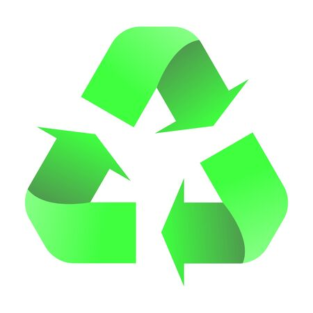 Recycle symbol on isolated white background