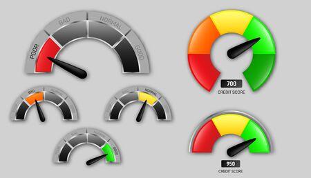 Creative vector illustration of rating customer satisfaction meter. Different art design from red to green.  Ilustração