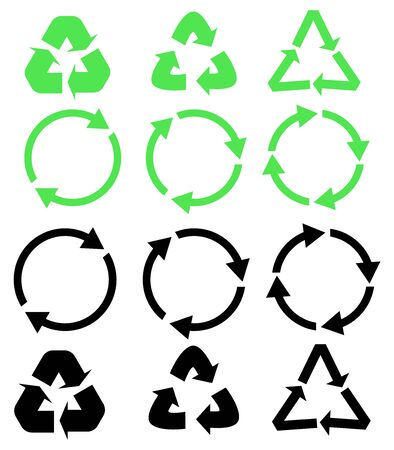 Set of different black and green vector arrows refresh. Arrows flat vector icon Ilustração