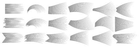 Set of vector different options of simple horizontal lines. Speed lines isolated set.  Black lines Ilustração