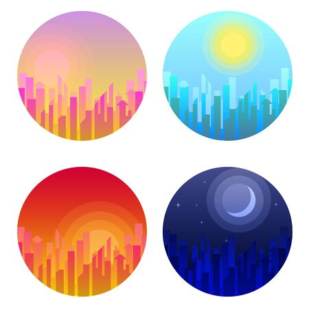 Daytime cityscape. Morning, day and night city skyline landscape. Bundle of urban landscapes at dawn or in evening with megalopolis exterior. Ilustração