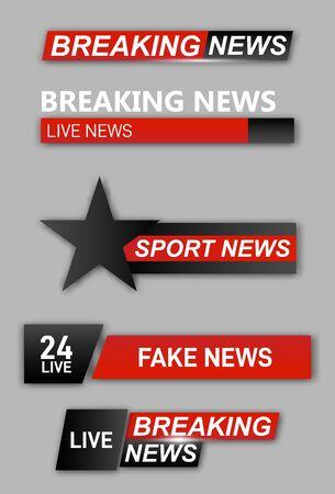 Tv title. Broadcasting banner graphic interfaces, tv streaming lower bar.  Ilustração