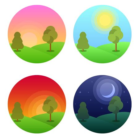 Modern beautiful landscape with gradients. Morning, noon, sunset and night stars . Daytime vector