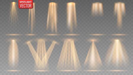 Collection of the gold spotlight shines on the stage, scene, podium. Bright lighting with spotlights. Ilustração