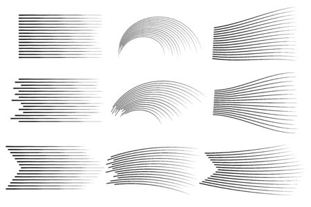 Set of vector different options of simple horizontal lines of speed