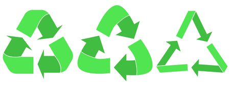 Recycled arrows. Green reusable arrow icons, eco recycle