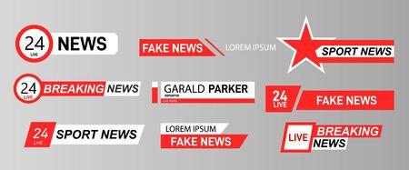 TV News Bars Set Vector. Streaming Video News Sign. Ilustração