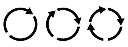 Set of different black vector arrows refresh, reload and process. Ilustração
