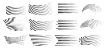 Black lines on white background.  simple horizontal lines of speed, movement, black color. Manga cartoon design