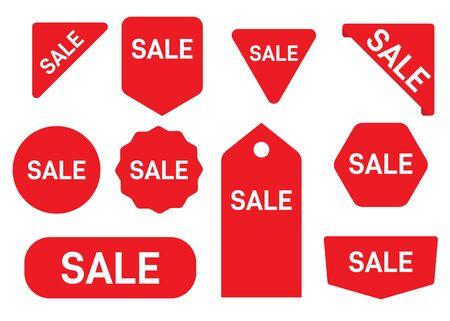 Set of sale sticker. Badges with word new. Red promotion labels for arrivals shop section. Ilustração