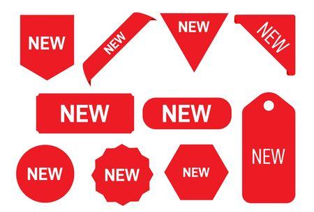 Nouveau vecteur de ruban et de bannière de balise. Nouveaux rubans. Bannière d'angle, nouvelles étiquettes d'étiquettes et boutons présents