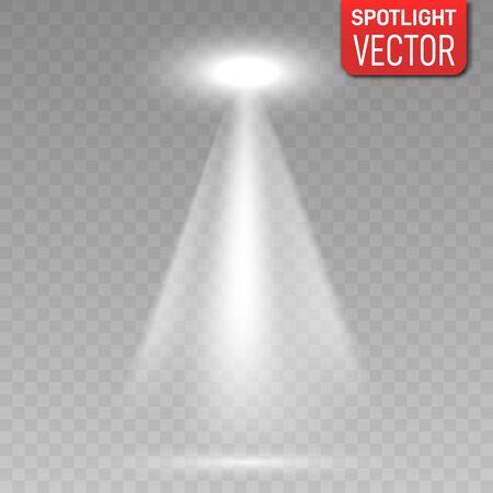 Spotlight on transparent background. Vector glowing light effect. Vector Spotlights. Scene. Light Effects.  Ilustração