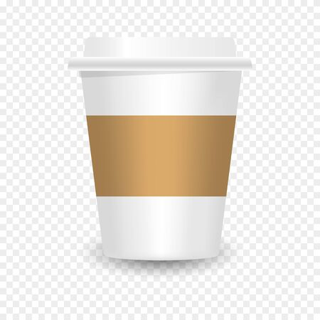 Realistic Paper Coffee Cup - vector Blank Mockup for Cafe