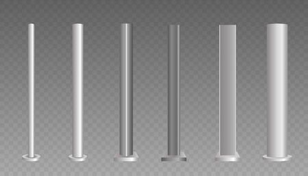 Metal poles. Metalic pillars for urban advertising sign and billboard. Set of metal poles with different diameters. Illusztráció
