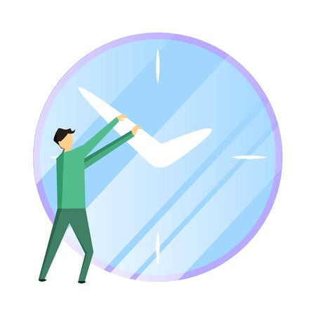 Businessman trying to stop the time. Deadline and time management concept. Modern flat vector illustration.