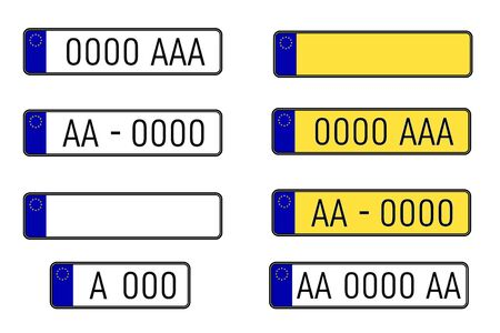 Set of european number plates. Car license plate. EU countries car number plates. Registration numbers template vector illustration set. Stock Illustratie
