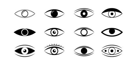 Premium set of eye line icons. Simple pictograms pack. Human organs of vision in different positions, visual system in graphic design