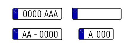 European countries car license plate registration numbers. Car license plate. EU countries car number plates.