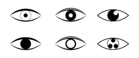 Set of eye icon vector flat style. Stroke vector illustration on a white background. Modern outline style icons collection.