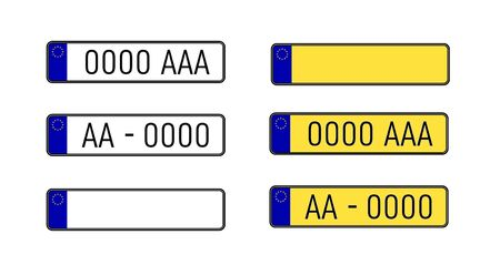 Set of european number plates. Collection of vehicle alphanumeric IDs from various states.