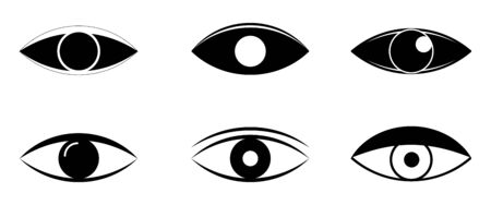 Eye and view line icons. vector linear icon set. Visible, sleep and medicine supervision observe, lens or cry, eyesight health outline silhouette