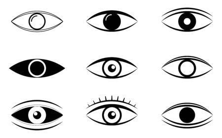Outline eye icons. Open eyes images, eye shapes with eyelash. Vector illustration EPS10 Illustration