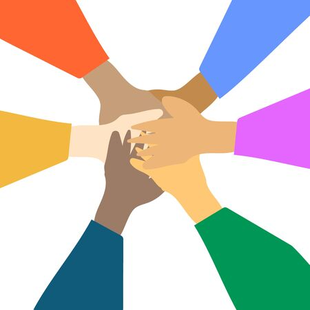Hands of people putting together. Flat cartoon vector illustration.