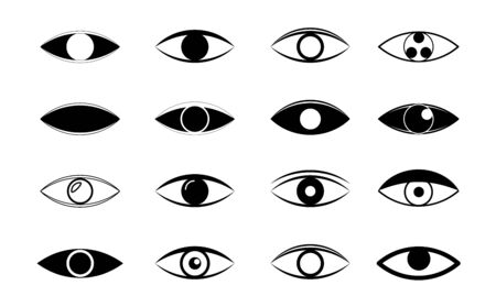 Set of eye line icons. Simple pictograms pack. Visible, sleep and medicine supervision observe, lens or cry, eyesight health outline silhouette vector isolated symbols set Illustration