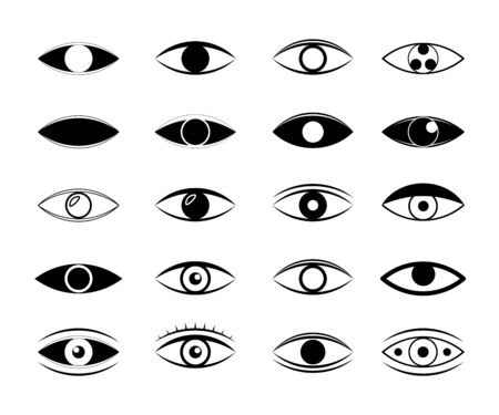 Set of eye line icons. Simple pictograms pack. Human organs of vision in different positions, visual system in graphic design.