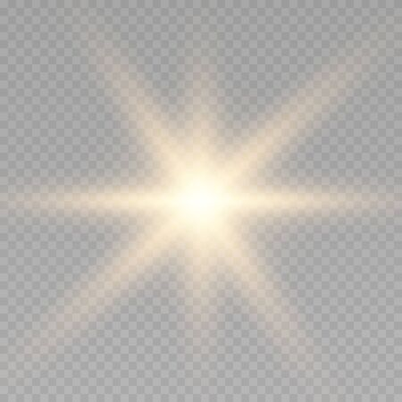 glowing light burst explosion transparent. Golden ens flare, stardust, shining star