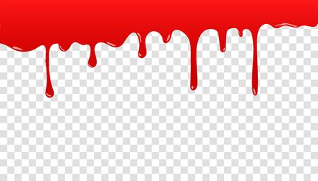 Paint is dripping. Dripping liquid. Paint is flowing. Current paint, stains. The current is falling. Liquid drops and splashes, blood repeats Ilustración de vector