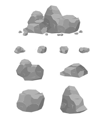 Rocks and stones set, single or stacked on a white background. Set of different boulders