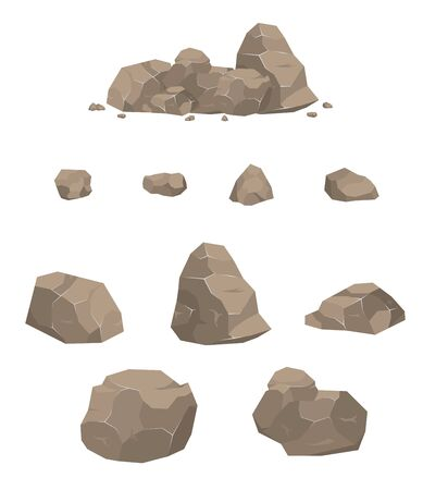 Rock stone big set cartoon. Stone rock vector rockstone mountain or rocky cliff with stony materials of geology in Rockies mountainous stoniness