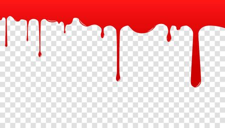 Red blood drips pattern. Dripping blood. Seamless pattern Current ink. Paint is dripping. 向量圖像