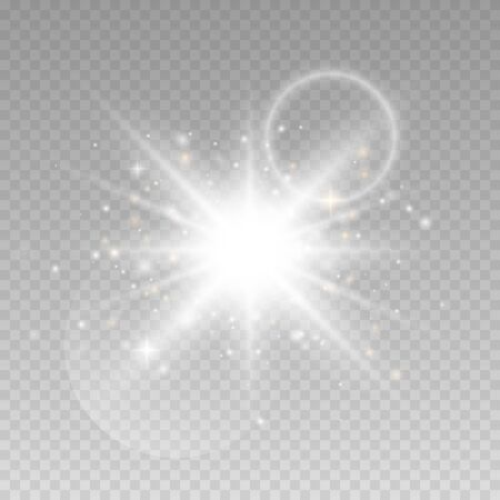 Glow light effect. Star burst with sparkles.  Sun flash with rays and spotlight