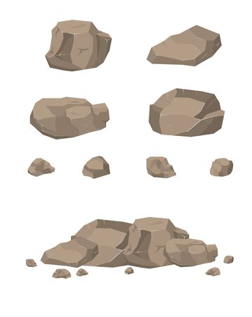 The stones. Rocky cliff. Stones of red breed. Rock. Stone material for the game. Ilustracje wektorowe