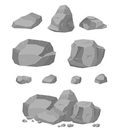 Rock stone big cartoon set. Stones and rocks in isometric 3d style. Set of different boulders. Vector illustration